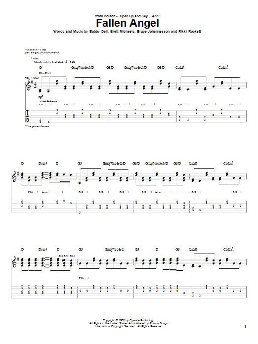 Fallen Angel sheet music for guitar solo (tablature) by Rikki Rockett