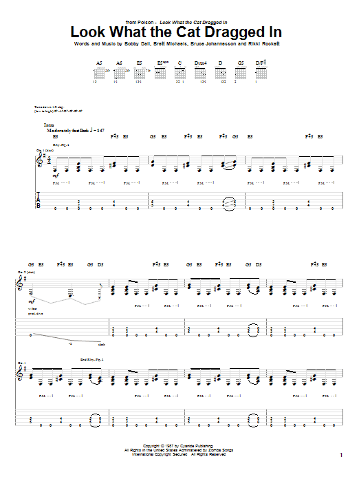 Tablature guitare Look What The Cat Dragged In de Poison - Tablature Guitare