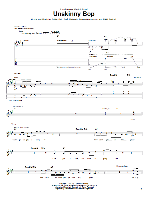 Tablature guitare Unskinny Bop de Poison - Tablature Guitare