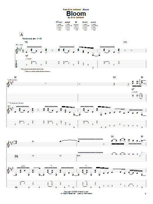 Tablature guitare Bloom de Eric Johnson - Tablature Guitare