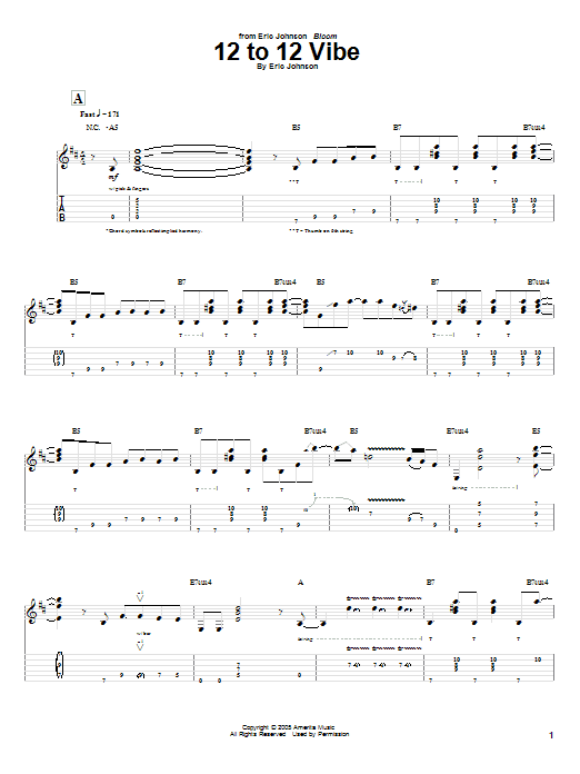 Tablature guitare 12 To 12 Vibe de Eric Johnson - Tablature Guitare