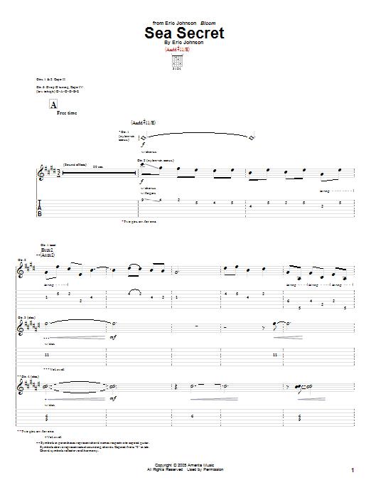Tablature guitare Sea Secret de Eric Johnson - Tablature Guitare