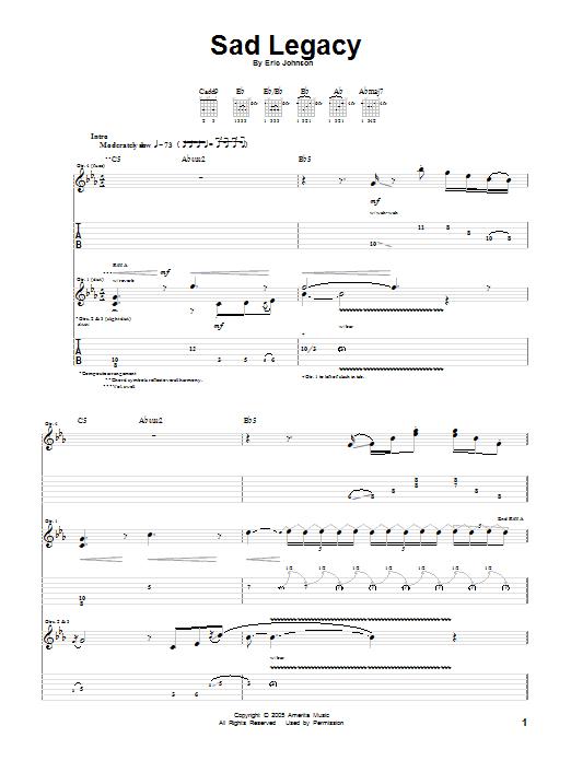 Tablature guitare Sad Legacy de Eric Johnson - Tablature Guitare