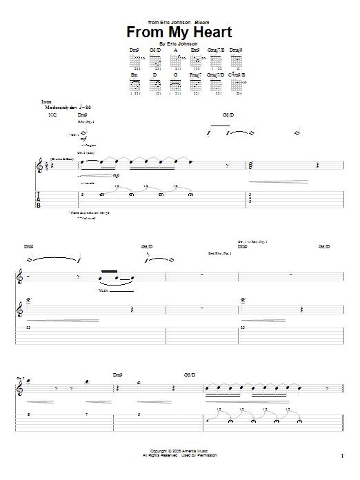 Tablature guitare From My Heart de Eric Johnson - Tablature Guitare