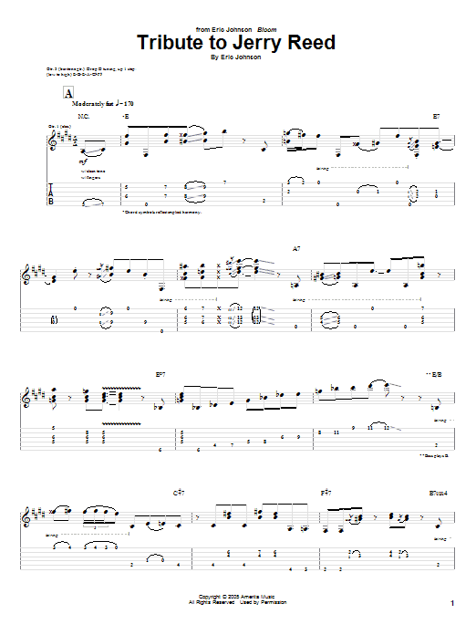 Tablature guitare Tribute To Jerry Reed de Eric Johnson - Tablature Guitare
