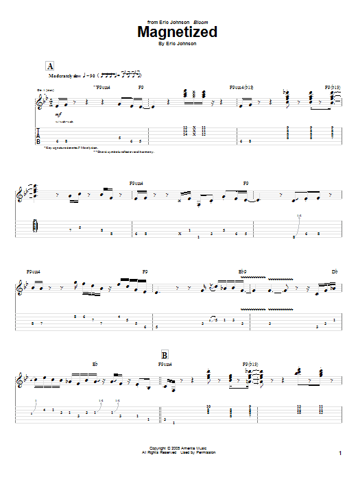 Tablature guitare Magnetized de Eric Johnson - Tablature Guitare