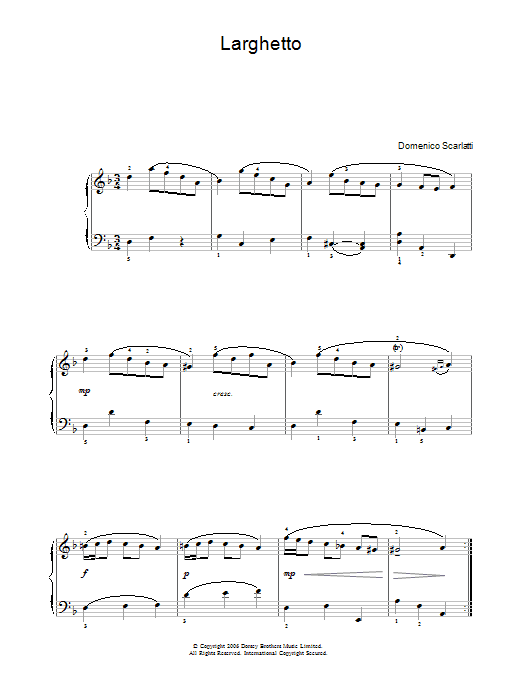 Larghetto sheet music for voice, piano or guitar by Domenico Scarlatti