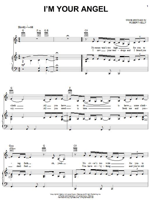 Partition piano I'm Your Angel de Celine Dion & R Kelly - Piano Voix Guitare (Mélodie Main Droite)