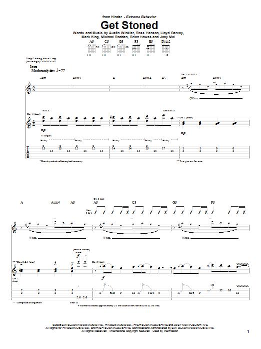 Tablature guitare Get Stoned de Hinder - Tablature Guitare