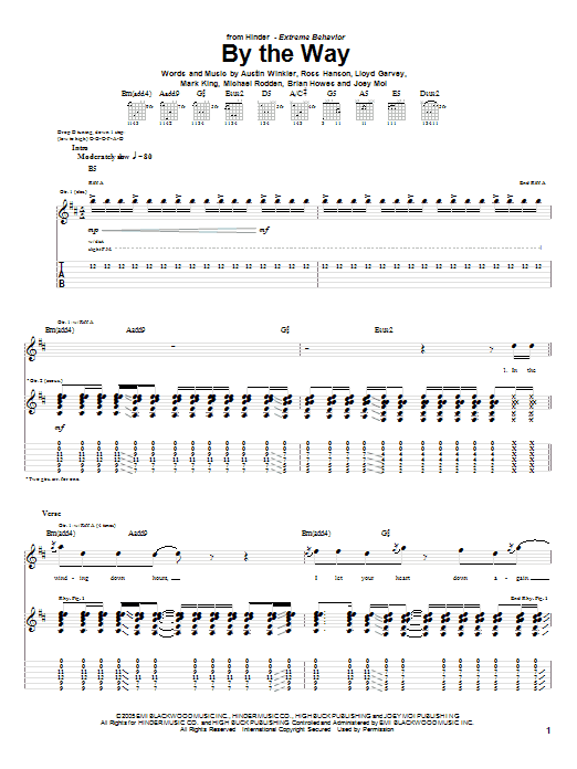 Tablature guitare By The Way de Hinder - Tablature Guitare