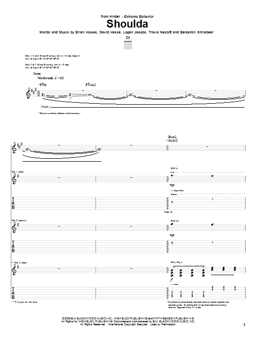 Tablature guitare Shoulda de Hinder - Tablature Guitare