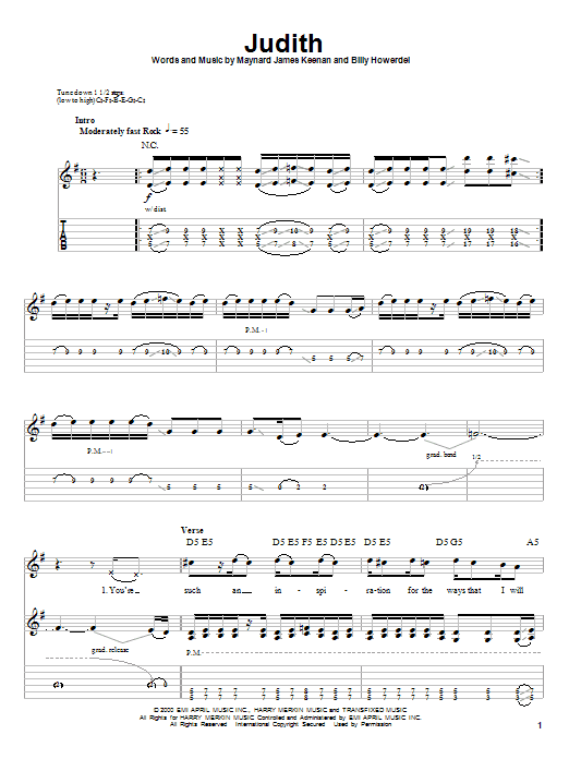Judith sheet music for guitar solo (tablature, play-along) by Maynard James Keenan