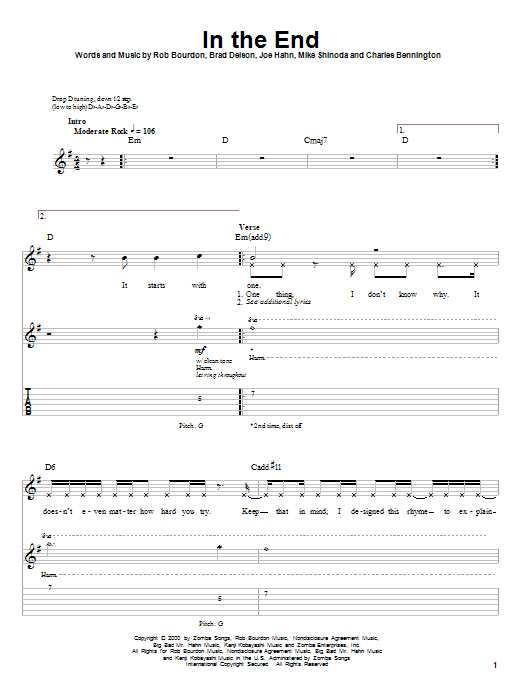 Sheet Music Digital Files To Print - Licensed Linkin Park Digital ...