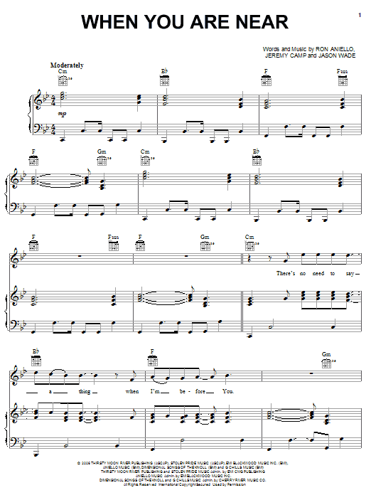When You Are Near sheet music for voice, piano or guitar by Ron Aniello