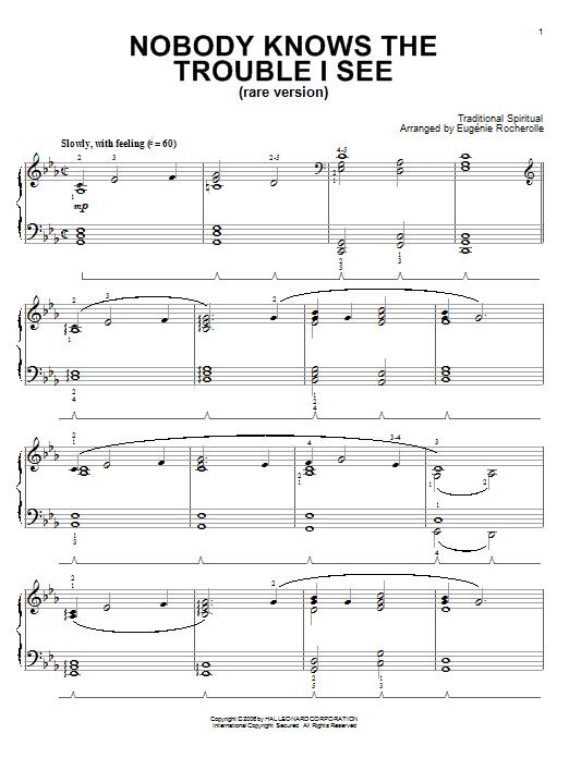Partition piano Nobody Knows De Trouble I See (Rare Version) de Eugenie Rocherolle - Piano Solo