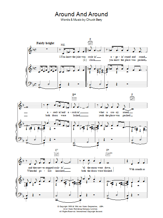 Around And Around sheet music for voice, piano or guitar by Chuck Berry
