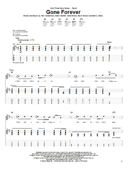 Tablature guitare Gone Forever de Three Days Grace - Tablature Guitare