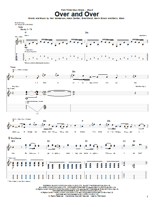 Over And Over by Three Days Grace - Guitar Tab - Guitar Instructor