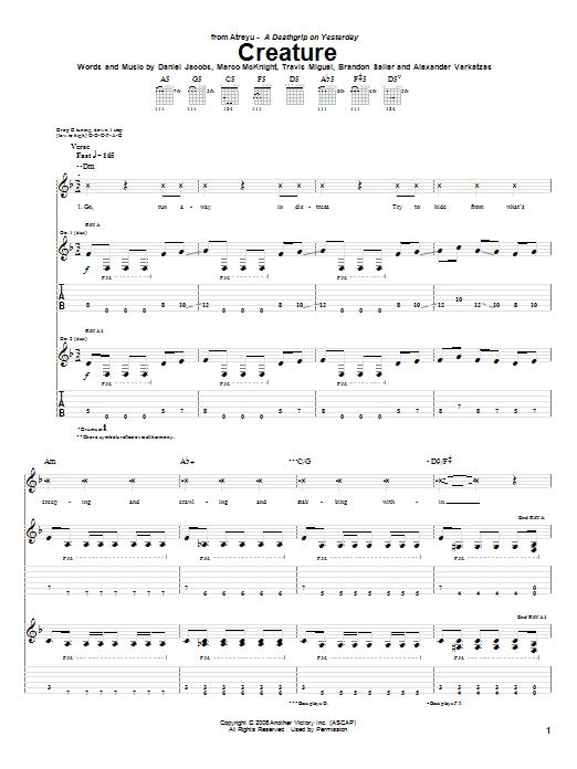 Tablature guitare Creature de Atreyu - Tablature Guitare