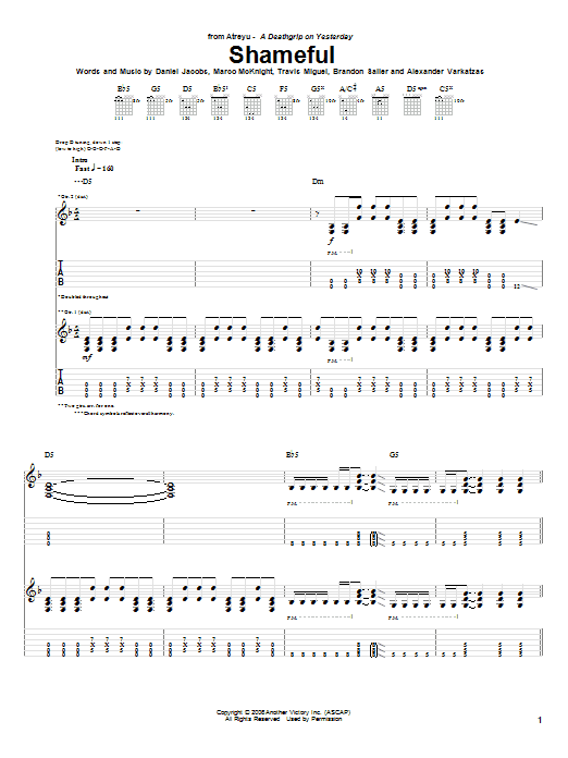 Tablature guitare Shameful de Atreyu - Tablature Guitare