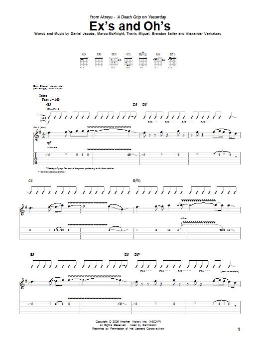 Tablature guitare Ex's And Oh's de Atreyu - Tablature Guitare