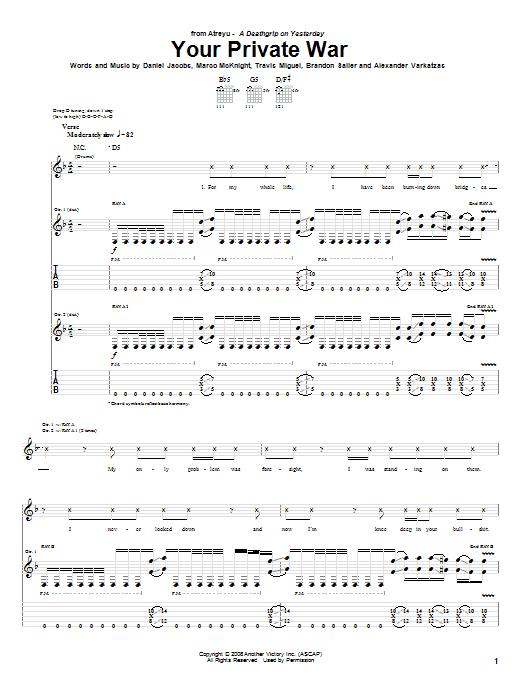 Tablature guitare Your Private War de Atreyu - Tablature Guitare