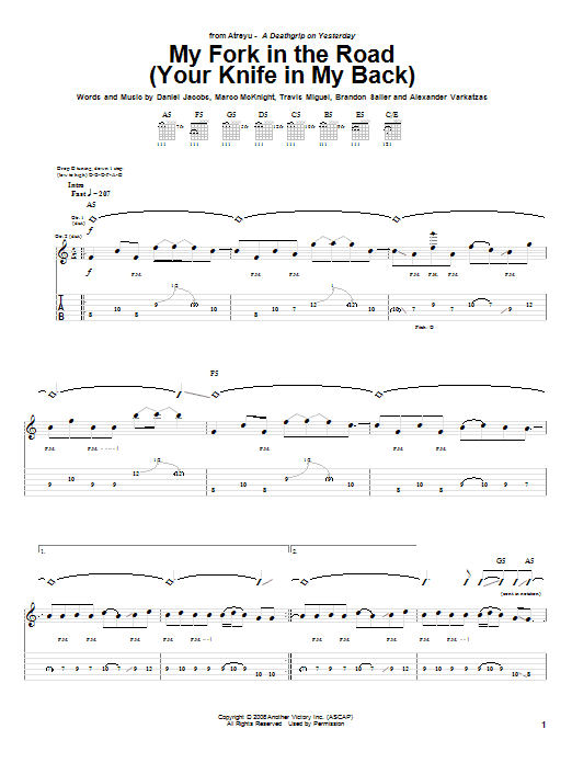 Tablature guitare My Fork In The Road (Your Knife In My Back) de Atreyu - Tablature Guitare