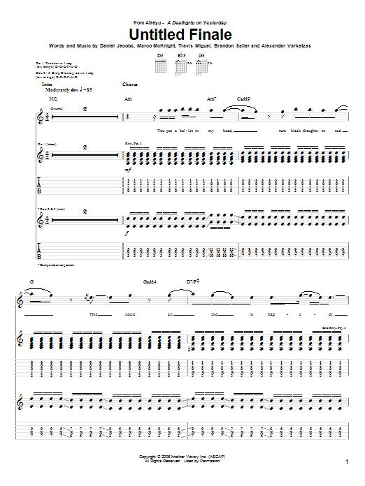 Tablature guitare Untitled Finale de Atreyu - Tablature Guitare