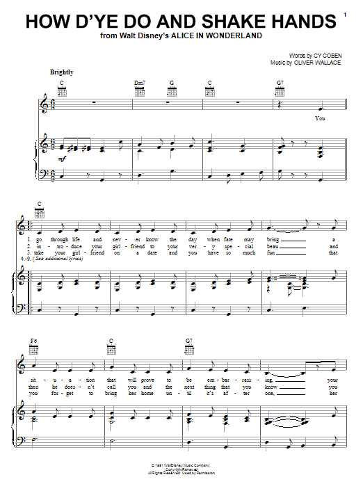 Partition piano How D'ye Do And Shake Hands de Cy Coben - Piano Voix Guitare (Mélodie Main Droite)