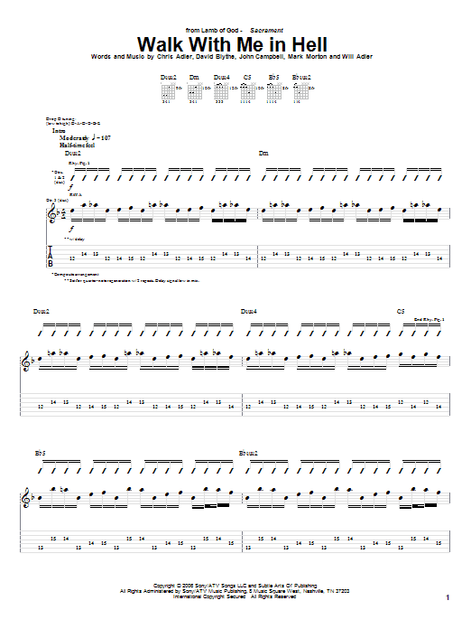 Tablature guitare Walk With Me In Hell de Lamb of God - Tablature Guitare