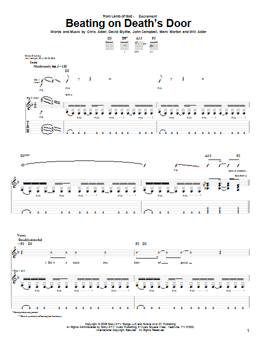 Tablature guitare Beating On Death's Door de Lamb of God - Tablature Guitare