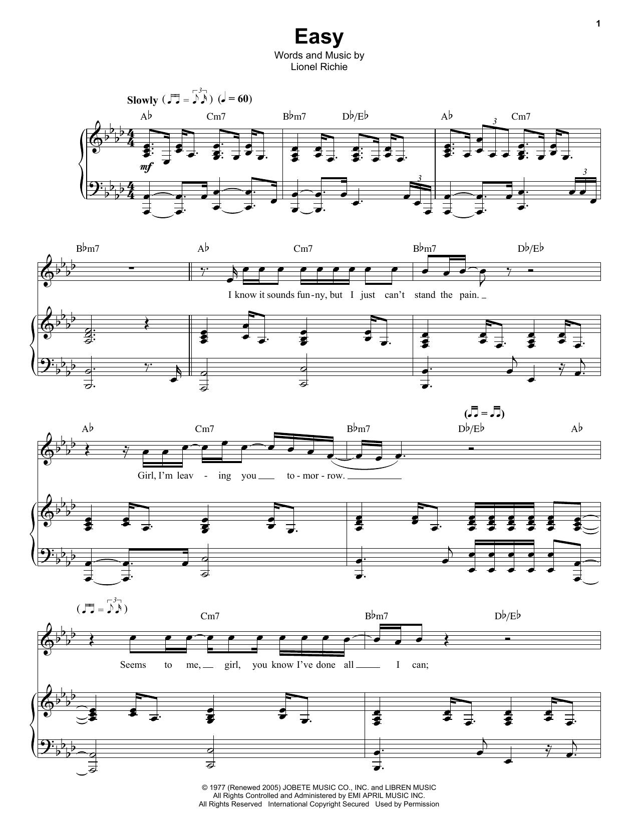 Partition piano Easy de The Commodores - Piano Voix