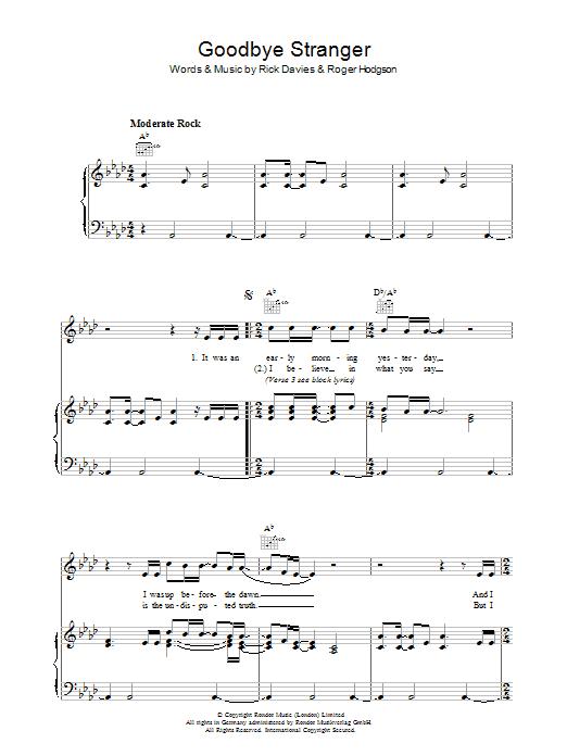 Partition Piano Goodbye Stranger