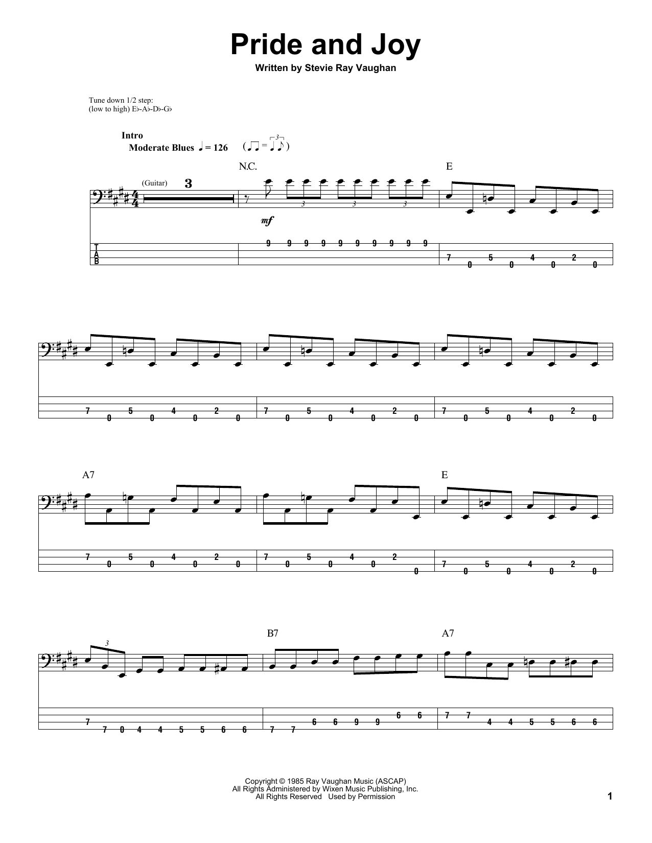 Tablature guitare Pride And Joy de Stevie Ray Vaughan - Tablature Basse