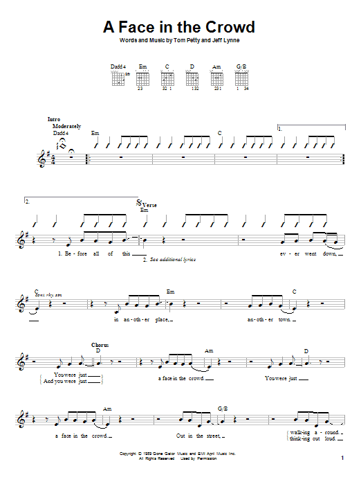 Tablature guitare A Face In The Crowd de Tom Petty - Autre