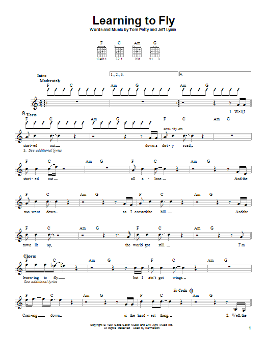 Tablature guitare Learning To Fly de Tom Petty - Autre