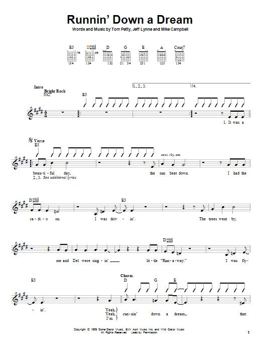 Tablature guitare Runnin' Down A Dream de Tom Petty - Autre