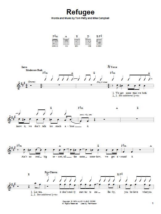 Tablature guitare Refugee de Tom Petty - Autre