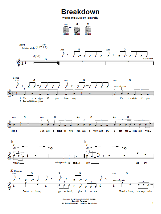 Tablature guitare Breakdown de Tom Petty - Autre