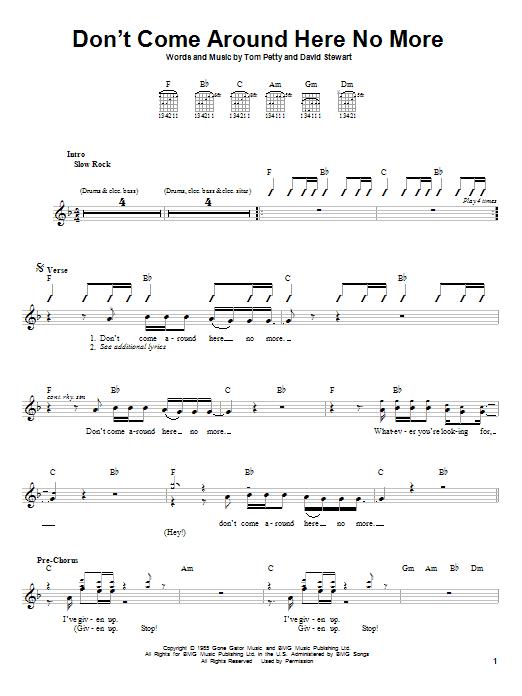 Tablature guitare Don't Come Around Here No More de Tom Petty - Autre