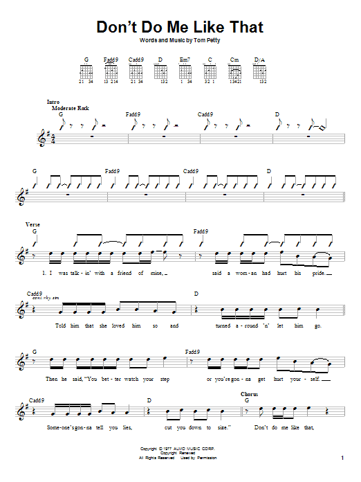 Tablature guitare Don't Do Me Like That de Tom Petty And The Heartbreakers - Autre