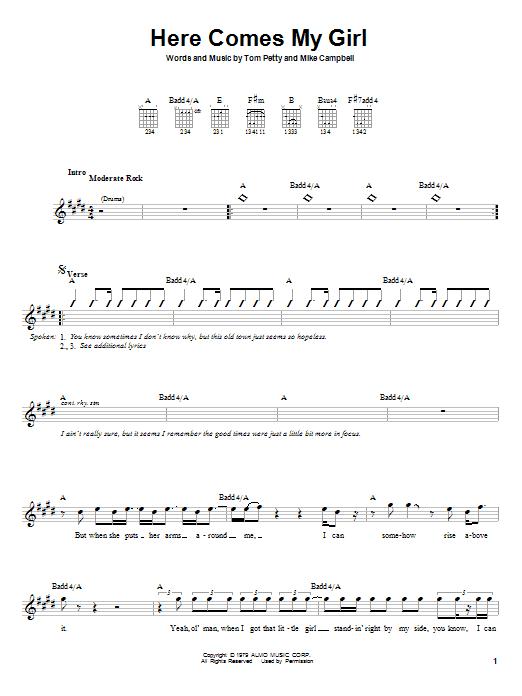 Tablature guitare Here Comes My Girl de Tom Petty - Autre