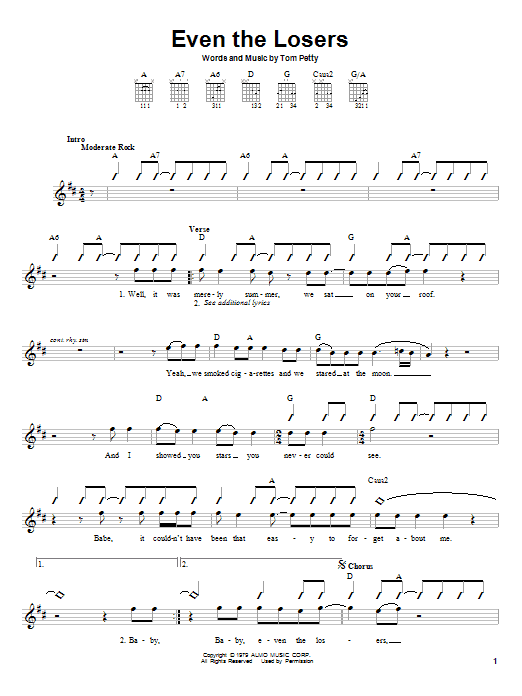 Tablature guitare Even The Losers de Tom Petty - Autre