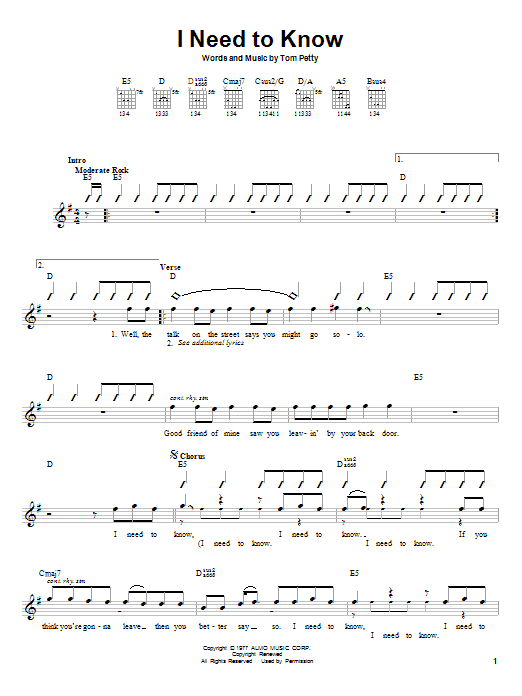 Tablature guitare I Need To Know de Tom Petty - Autre