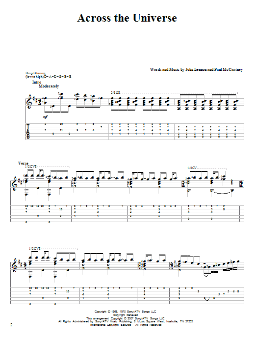 Tablature guitare Across The Universe de The Beatles - Tablature Guitare