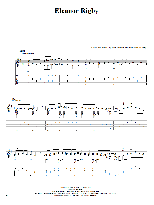 Tablature guitare Eleanor Rigby de The Beatles - Tablature Guitare