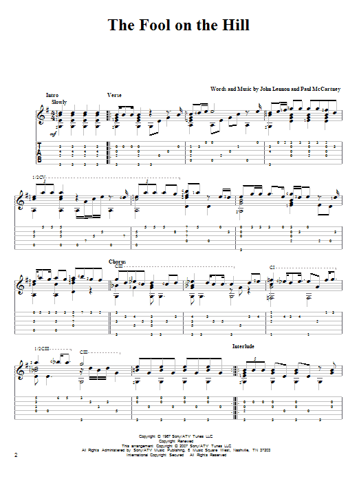 Tablature guitare The Fool On The Hill de The Beatles - Tablature Guitare