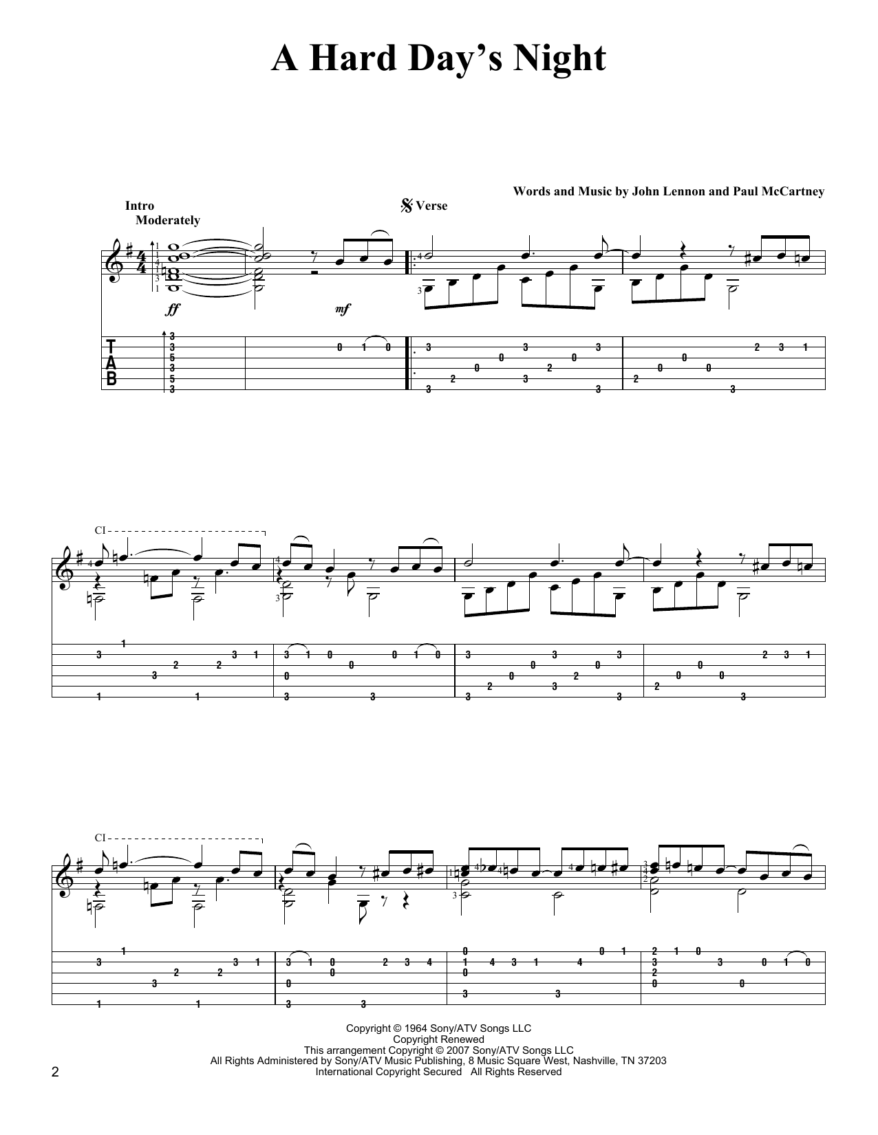 A Hard Day's Night sheet music for guitar solo by Paul McCartney