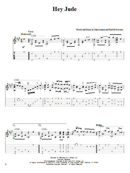 Hey Jude sheet music for guitar solo by Paul McCartney