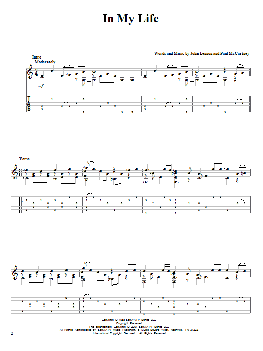 Tablature guitare In My Life de The Beatles - Tablature Guitare